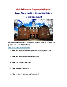 House of Burgesses Webquest (With Answer Key)!