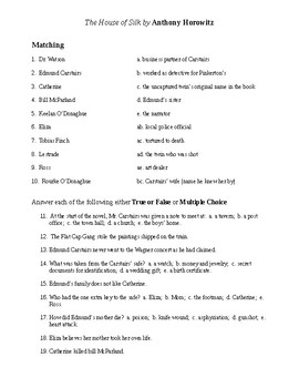 House of Silk Reading Check Test/Quiz
