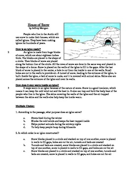 House of Snow - Informational Text Test Prep