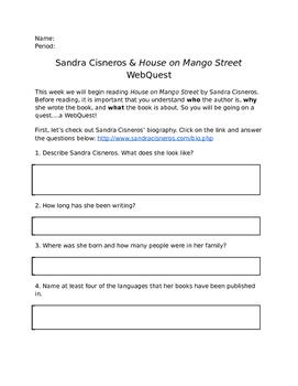 House on Mango Street/Sandra Cisneros WebQuest