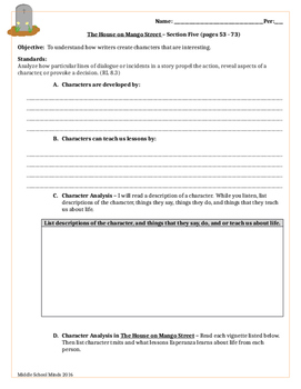 House on Mango Street - Section Five Guided Reading
