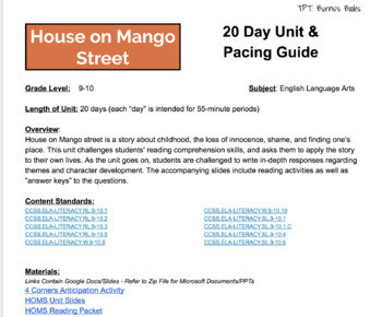 House on Mango Street Unit Materials and Pacing Guide