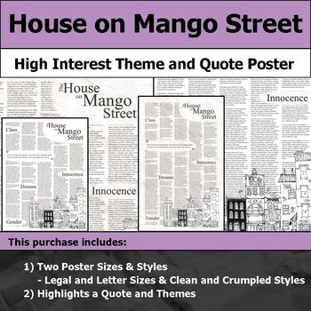 House on Mango Street - Visual Theme and Quote Poster for Bulletin Boards