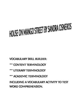 House on Mango Street Vocabulary Activity