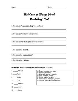 House on Mango Street- Vocabulary Tests