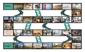 Houses and Apartments Types-Features Legal Size Photo Chutes and Ladders Game