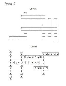 House vocabulary crossword speaking activity