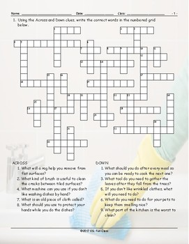 Household Chores-Cleaning Supplies Crossword Puzzle