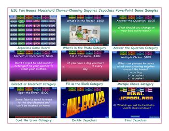 Household Chores-Cleaning Supplies Jeopardy PowerPoint Game Slideshow