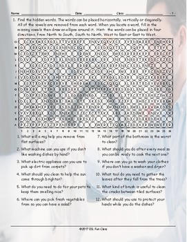 Household Chores-Cleaning Supplies Missing Vowels Worksheet