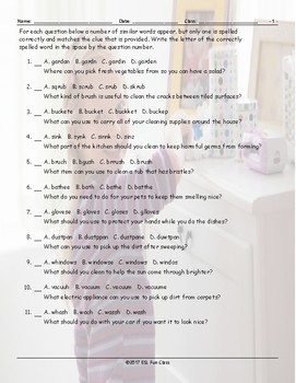 Household Chores-Cleaning Supplies Spelling Challenge Worksheet