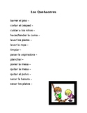 Household Chores Vocabulary in Spanish
