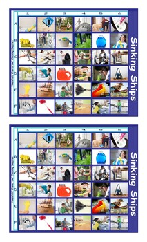 Household Chores and Cleaning Supplies Legal Size Photo Battleship Game