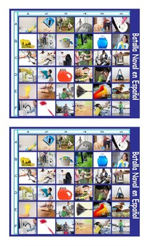 Household Chores and Cleaning Supplies Spanish Legal Size Photo Battleship Game