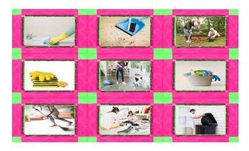 Household Chores and Cleaning Supplies Spanish Legal Size Photo Card Game