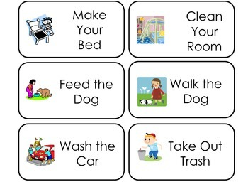 Household Chores printable Picture Word Flash Cards. Preschool flashcards.