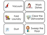 Household Chores printable Picture Word Flash Cards. Presc