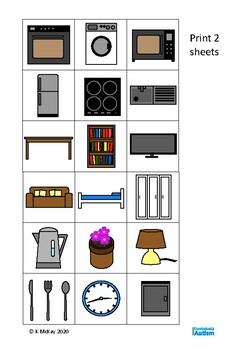 Household Items Memory Pairs Game, Autism, Special Education, Life Skills