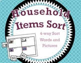 Household Items Sort / 4-way Cut and Paste Sort / Words Su