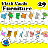 ESL Furniture Flash Cards. Flowers, outside, armchair, TV, door, lamp, chair...