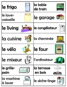 Household Objects Labels (in FRENCH)