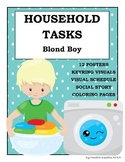 Household Tasks Chores Visual Schedule Posters Social Story Coloring Blond Boy
