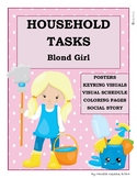 Household Tasks Chores Visual Schedule Posters Social Story Coloring Blond Girl