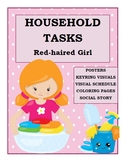 Household Tasks Chores Visual Schedule Posters Social Story Red-Haired Girl