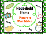 Household picture to word match up