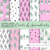 Houseplant Pattern Digital Paper, Cactus, Succulent