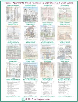 Houses-Apartments Types-Features 16 Worksheet- 4 Exam Bundle