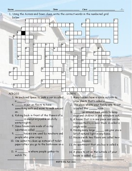 Houses-Apartments Types-Features Crossword Puzzle