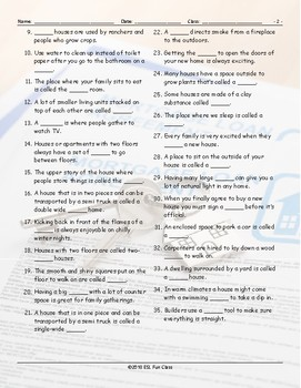 Houses-Apartments Types-Features Jumbled Words Worksheet