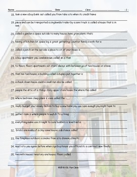 Houses-Apartments Types-Features Scrambled Sentences Worksheet