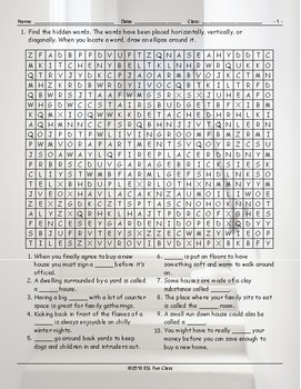 Houses-Apartments Types-Features Word Search Worksheet