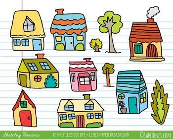 Houses Clip Art - Neighborhood Houses and Trees - San Jones Hand drawn clip art