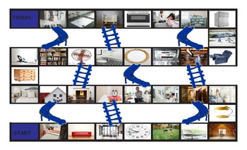 House Rooms and Furniture Legal Size Photo Chutes and Ladders Game