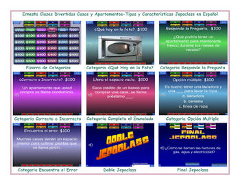 Houses and Apartments-Types &Features Spanish Jeopardy Game