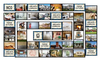 Houses and Apartments Types-Features Spanish Legal Size Photo Board Game