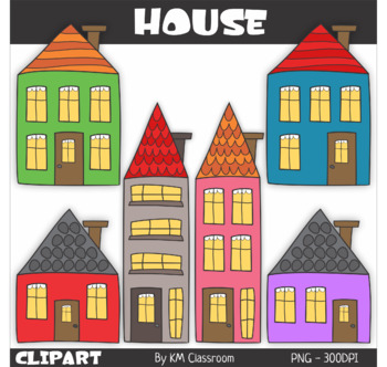 Houses with surroundings - Clip Art
