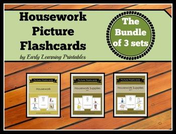 Housework BUNDLE (Set I, II, III) Picture Flashcards