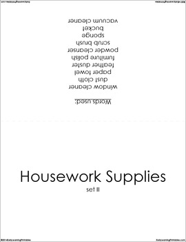 Housework BUNDLE (set I, II, III) Picture Flashcards
