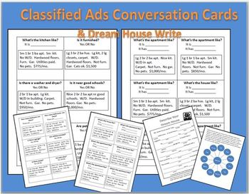 Housing-Classified Ads Conversation Cards & Dream House Write ESL