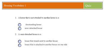 Housing Vocabulary 10 Questions Quick Quiz