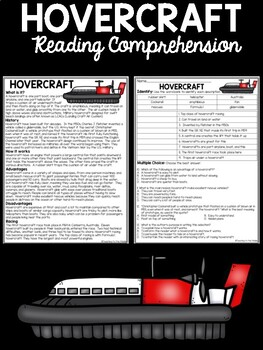 Hovercraft Reading Comprehension; Transportation; Military; Rescues