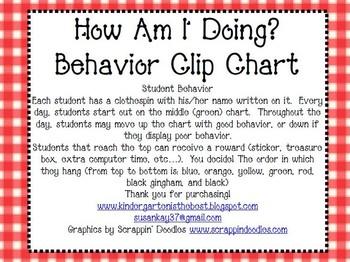 How Am I Doing?  Behavior Clip Chart