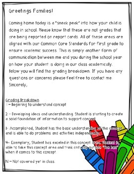 How Am I Doing? - First Grade Editable Communication