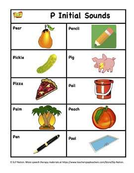 P Articulation Goal Tracker for Speech & Language w/ 30 Matching Pictures.
