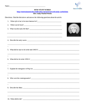 How Andy Warhol Works- Internet Assignment for How Stuff Works