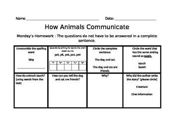 How Animals Communicate Journey's Common Core